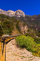 The CHEPE (Chihuahua al Pacifico Railroad) train traveling through the Copper Canyon, Mexico