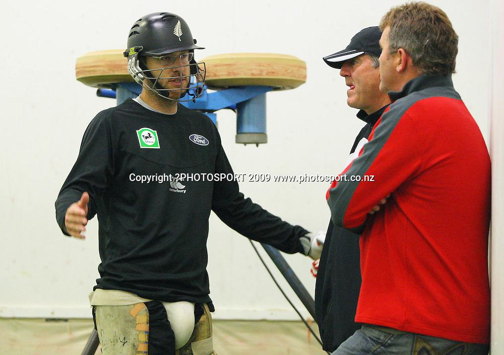 Daniel Vettori (left) talks to John Wright and Martin Crowe.<br /> Black Caps net session at Basin Reserve, Wellington. Wednesday, 2 December 2009. Photo: Dave Lintott/PHOTOSPORT