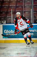 KELOWNA, BC - NOVEMBER 1:  Cole Moberg #2 of the Prince George Cougars warms up on the ice against the Kelowna Rockets at Prospera Place on November 1, 2019 in Kelowna, Canada. (Photo by Marissa Baecker/Shoot the Breeze)