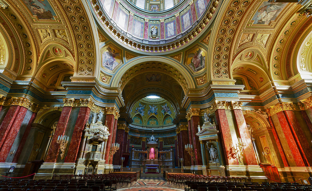 View of the interior of the St Stephen's Basilica in Budapest.