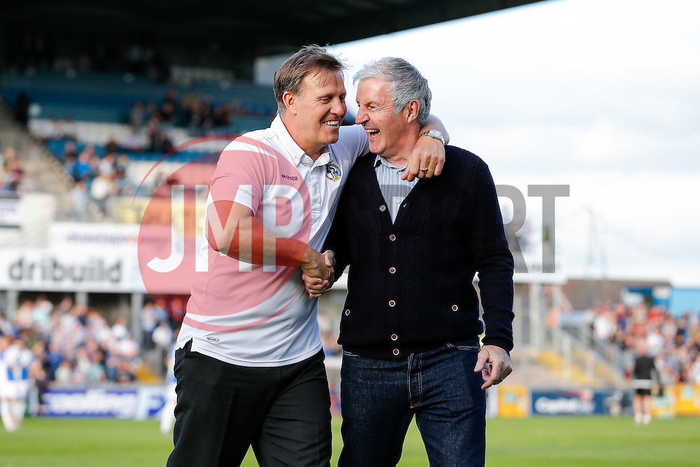 Former Bristol Rovers player and retiring team physio Phil Kite jokes with Geoff Twentyman as he is introduced onto the pitch to an applause ahead of the match - Mandatory byline: Rogan Thomson/JMP - 07966 386802 - 31/07/2015 - FOOTBALL - Memorial Stadium - Bristol, England - Bristol Rovers v West Bromwich Albion - Phil Kite Testimonial Match.