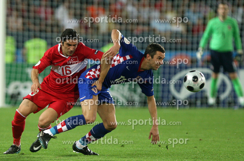 Ugur Boral of Turkey vs Darijo Srna of Croatia during the UEFA EURO 2008 Quarter-Final soccer match between Croatia and Turkey at Ernst-Happel Stadium, on June 20,2008, in Wien, Austria. Turkey won after penalty shots. (Photo by Vid Ponikvar / Sportal Images)