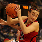 Megan Deines, Louisville, in action during the Notre Dame Fighting Irish V Louisville Cardinals Semi Final match during the Big East Conference, 2013 Women's Basketball Championships at the XL Center, Hartford, Connecticut, USA. 11th March. Photo Tim Clayton