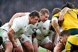 Dylan Hartley of England prepares to scrummage against his opposite number - Photo mandatory by-line: Patrick Khachfe/JMP - Mobile: 07966 386802 29/11/2014 - SPORT - RUGBY UNION - London - Twickenham Stadium - England v Australia - QBE Internationals