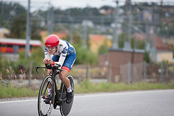 Daria Pikulik (POL) of Cervélo-Bigla Cycling Team rides past the train yard during the prologue of the Ladies Tour of Norway - a 3.4 km time trial, starting and finishing in Halden on August 17, 2017, in Ostfold, Norway. (Photo by Balint Hamvas/Velofocus.com)