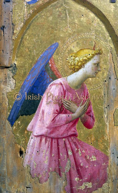 Angel in Adoration' painting on wood.  studio of Fra Angelico (born Guido di Pietro (c1400-c1455) Italian Renaissance.