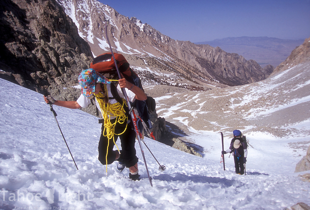 Anna Siebelink, front, and Doug Sherman, both of Truckee, CA, power their way up the last part of Shepherd pass at the start of a 7-day, 6-night trek across the Sierra High Route.