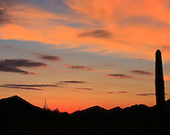 Colorful sunset with clouds over the hills of San Tan Regional Park, Queen Creek, AZ