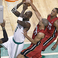 07 June 2012: Boston Celtics power forward Kevin Garnett (5) is blocked by Miami Heat small forward Shane Battier (31) during first half of Game 6 of the Eastern Conference Finals playoff series, Heat at Celtics at the TD Banknorth Garden, Boston, Massachusetts, USA.