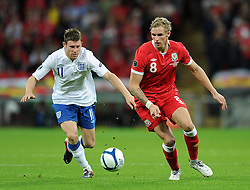 06.09.2011, Wembley Stadium, London, GBR, UEFA EURO 2012, Qualifikation, England vs Wales, im Bild Wales' Jack Collison and England's James Millner during the UEFA Euro 2012 Qualifying Group G match at Wembley Stadium on 6/9/2011. EXPA Pictures © 2011, PhotoCredit: EXPA/ Propaganda Photo/ Chris Brunskill +++++ ATTENTION - OUT OF ENGLAND/GBR+++++