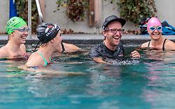 23.06.2017, Hotel Forsthofgut, Leogang, AUT, OeSV, Schwimmtraining Damen Speed Team, im Bild Christine Scheyer (AUT), Cornelia Hütter (AUT), Andreas Hochwimmer (Konditionstrainer), Ramona Siebenhofer (AUT) // during a swimmtraining of the Austrian Ladies Speed Team at the Hotel Forsthofgut, Leogang, Austria on 2017/06/23. EXPA Pictures © 2017, PhotoCredit: EXPA/ JFK