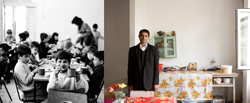 Ionut Iordache at the orphanage when he was 12 in 1995 and in 2009 in the room where he lived in Iasi. He used to wash cars at a nearby petrol station. Now he has a girlfriend and is a dad.