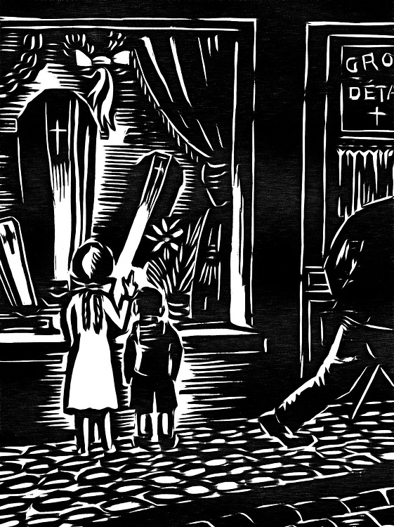 A black / white drawing of two children on a showcase where coffins are sold.