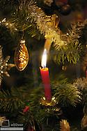 Christmas tree with burning candles, Christmas time