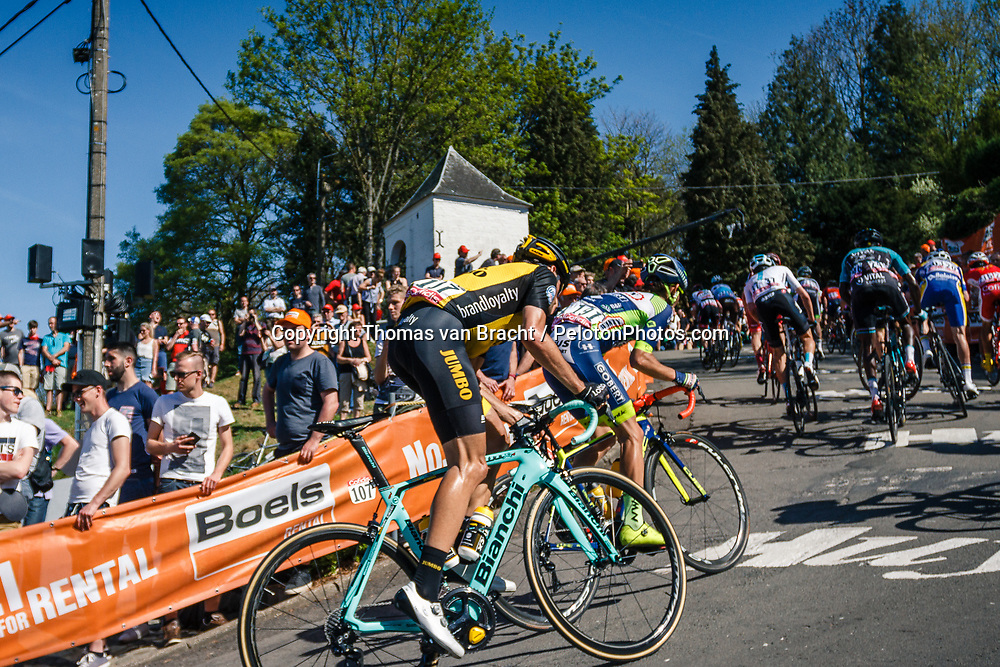Peloton with MARTENS Paul of Team LottoNL-Jumbo during 2nd lap on Mur de Huy at the 2018 La Flèche Wallonne race, Huy, Belgium, 18 April 2018, Photo by Thomas van Bracht / PelotonPhotos.com | All photos usage must carry mandatory copyright credit (Peloton Photos | Thomas van Bracht)