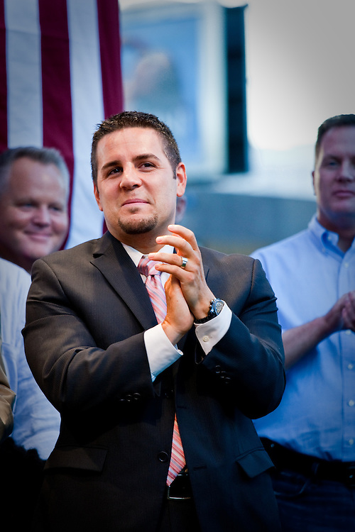 Jeffrey Zarrillo, one of the plaintiffs against Prop. 8, shows his support at a rally after Prop. 8 was overturned.