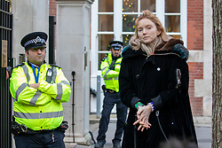 © Licensed to London News Pictures. 09/12/2019. London, UK. Lily Cole actress and model and climate change protesters join the Extinction Rebellion Hunger strike outside Conservative party HQ in Westminster as they continue their Twelve Days of Crisis a nonviolent direct action from 30 November until the eve of the Election Day on 12th December .Photo credit: Alex Lentati/LNP