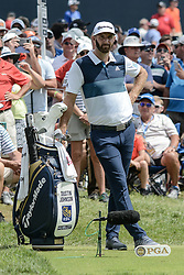 August 9, 2018 - Town And Country, Missouri, U.S - DUSTIN JOHNSON from Jupiter Florida, USA waits to tee off on hole number 6 during round one of the 100th PGA Championship on Thursday, August 8, 2018, held at Bellerive Country Club in Town and Country, MO (Photo credit Richard Ulreich / ZUMA Press) (Credit Image: © Richard Ulreich via ZUMA Wire)