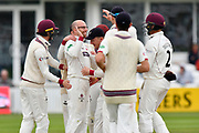 Wicket - Jack Leach of Somerset celebrates taking the wicket of Nick Compton of Middlesex during the Specsavers County Champ Div 1 match between Somerset County Cricket Club and Middlesex County Cricket Club at the Cooper Associates County Ground, Taunton, United Kingdom on 27 September 2017. Photo by Graham Hunt.