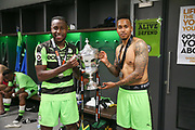 Forest Green Rovers Dale Bennett(6) and Forest Green Rovers Keanu Marsh-Brown(7) with the trophy during the Vanarama National League Play Off Final match between Tranmere Rovers and Forest Green Rovers at Wembley Stadium, London, England on 14 May 2017. Photo by Shane Healey.