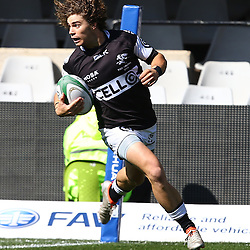 DURBAN, SOUTH AFRICA, 27 August, 2016 - Donovan du Randt of the Cell C Sharks Under 19's over for the sharks 1st try during the match between The Cell C Sharks U19 and the Blue Bulls U19, Currie Cup Under 19 Competition at Growthpoint Kings Park in Durban, South Africa. (Photo by Steve Haag)<br /> <br /> images for social media must have consent from Steve Haag