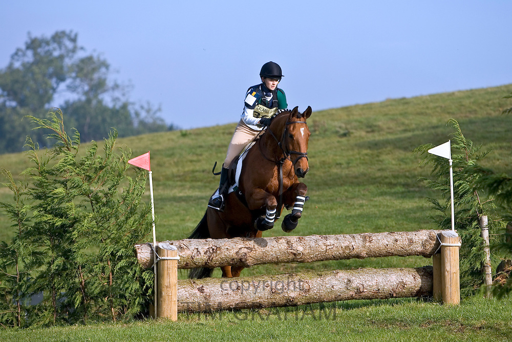 Event riding competing in cross-country phase of competition, Oxfordshire, United Kingdom