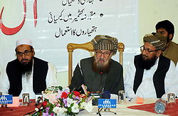 October 1, 2018 - Pakistan - ISLAMABAD, PAKISTAN, SEP 30: Jamiat Ulema-e-Islam-Sami (JUI-S) Chief, Maulana .Samiul Haq addresses to media persons during All Pakistan Conference, in Islamabad on .Sunday, September 30, 2018. (Credit Image: © PPI via ZUMA Wire)