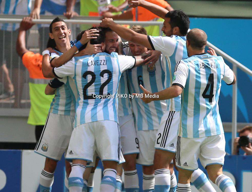 Fifa Soccer World Cup - Brazil 2014 - <br /> ARGENTINA (ARG) Vs. BELGIUM (BEL) - Quarter-finals - Estadio Nacional Brasilia -- Brazil (BRA) - 05 July 2014 <br /> Here Argentine Gonzalo Higuain celebrating his goal with team maters.<br /> &copy; PikoPress