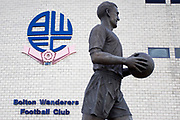 Nat Lofthouse statue. EFL Sky Bet League 1 match between Bolton Wanderers and Rochdale at the University of  Bolton Stadium, Bolton, England on 19 October 2019.