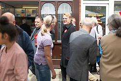© Licensed to London News Pictures. 1/6/2017 FRODSHAM , CHESHIRE  , UK.  <br /> <br /> Stand-up comedian and actor Eddie Izzard joins Labour Party candidates on the campaign trail today (Thursday 1st June 2017) Pictured on Frodsham Main Street, Frodsham, Cheshire with Mike Amesbury. Recent polls have shown a narrowing in the gap between Labour and the Conservatives in the run up to the 2017 General Election.<br /> <br /> Photo credit: CHRIS BULL/LNP