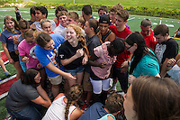 75 incoming high school freshmen partake in team building games during their two hour LHS freshmen orientation on Thursday morning.  (Karen Bobotas/for the Laconia Daily Sun)