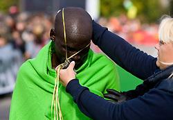 Winner William Biama of Kenya at the finish line of the 14th Marathon of Ljubljana, on October 25, 2009, in Ljubljana, Slovenia.  (Photo by Vid Ponikvar / Sportida)