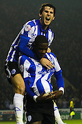 Celebrations as Sheffield Wednesday forward Lucas Joao scores Sheffield's second goal during the Capital One Cup Fourth Round match between Sheffield Wednesday and Arsenal at Hillsborough, Sheffield, England on 27 October 2015. Photo by Aaron Lupton.