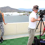 Maria Sharapova and Caroline Wozniacki take are interviewed during the WTA All-Access Hour at the Indian Wells Tennis Garden in Indian Wells, California Tuesday, March 11, 2015.<br /> (Photo by Billie Weiss/BNP Paribas Open)
