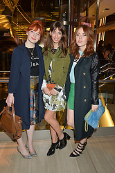 Left to right, ALICE LEVINE, LAURA JACKSON and ANGELA SCANLON at the Veryexclusive.co.uk Launch Party held at Watches of Switzerland, 155 Regents Street, London on 20th February 2015.