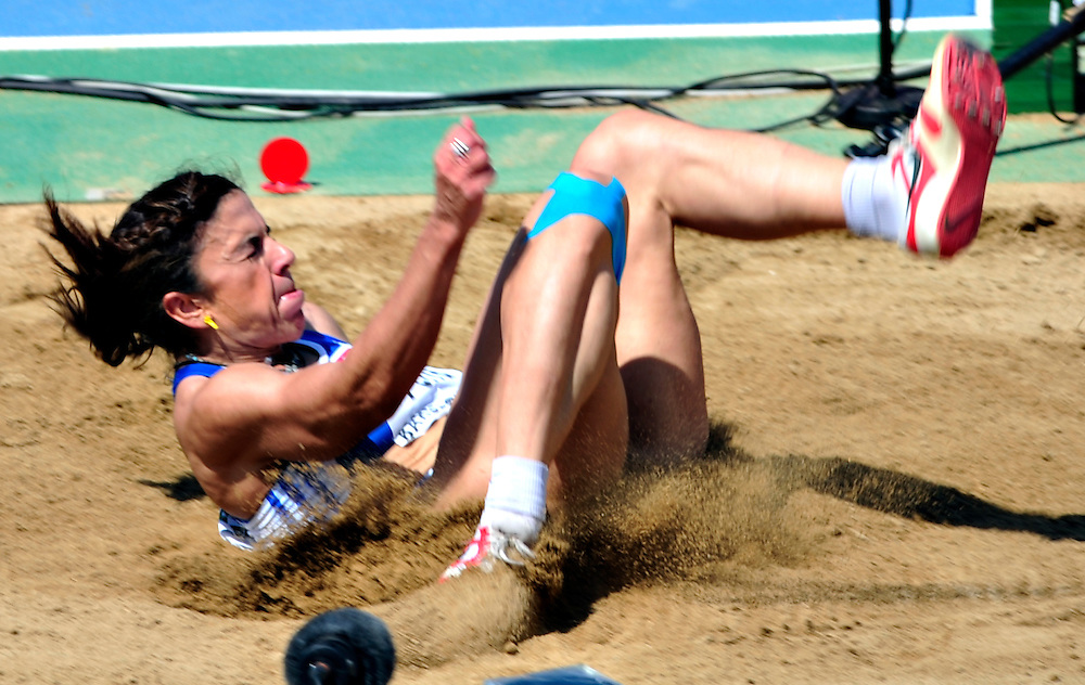 Greece Athanasia Perra competes during the women's triple jump qualifications at the 2010 European Athletics Championships at the Olympic Stadium in Barcelona on July 29, 2010