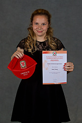 NEWPORT, WALES - Saturday, May 19, 2018: Katie Young during the Football Association of Wales Under-16's Caps Presentation at the Celtic Manor Resort. (Pic by David Rawcliffe/Propaganda)