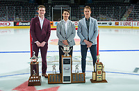 REGINA, SK - MAY 26: Rookie of the Year, Alexis Lafreniere of Rimouski Oceanic, Player of the Year Alex Barre-Boulet, and Scholastic Player of the Year Alexandre Alain of Blainville-Boisbriand Armada at the Brandt Centre on May 26, 2018 in Regina, Canada. (Photo by Marissa Baecker/CHL Images)
