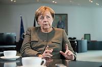 13 SEP 2017, BERLIN/GERMANY:<br /> Angela Merkel, CDU, Bundeskanzlerin, waehrend einem Interview, in Ihrem Buero, Bundeskanzlerin<br /> IMAGE: 20170917-01-003<br /> KEYWORDS: B&uuml;ro