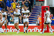 Leeds Rhinos centre Kallum Watkins (3) scores a try and celebrates to make the score  during the Challenge Cup 2017 semi final match between Hull RFC and Leeds Rhinos at the Keepmoat Stadium, Doncaster, England on 29 July 2017. Photo by Simon Davies.
