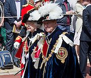 Picture shows Her Majestsy The Queen &amp; His royal Highness The Duke of Edinburgh.<br /> <br /> The Household Division today supported the Garter Service which took place at Saint Georges Chapel in Windsor Castle, attended by Her Majesty The Queen and His Royal Highness The Duke of Edinburgh.<br /> <br /> 18/06/2012.<br /> Credit should read: L/Cpl Mark Larner RY/MOD<br /> <br /> The route from the Quadrangle at Windsor Castle down the hill to the Chapel was lined by The Household Cavalry Mounted Regiment with 12 officers and 113 men based in central London, and 1st Battalion Coldstream Guards with 5 officers &amp; 107 men, based in Windsor. All troops were under the command of Colonel Stuart Cowen, Commander Household Cavalry.