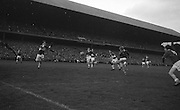 Cork forward E. Kirby shoots a fastball towards Laois goal during the All Ireland Minor Gaelic Football Final Cork v. Laois in Croke Park on the 24th September 1967.