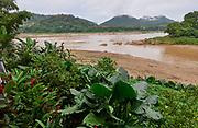 Laos. Luang Prabang. Confluence of Mekong (l.) and Nam Khan rivers.
