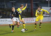 Dundee's Greg Stewart is pulled back by St Mirren's Jeroen Tesselaar  - Dundee v St Mirren, SPFL Premiership at <br /> Dens Park<br /> <br />  - &copy; David Young - www.davidyoungphoto.co.uk - email: davidyoungphoto@gmail.com