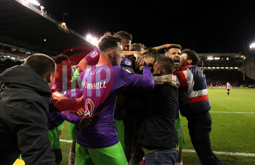 Aden Flint of Bristol City celebrates with teammates after scoring a goal to make it 2-1 - Mandatory by-line: Robbie Stephenson/JMP - 08/12/2017 - FOOTBALL - Bramall Lane - Sheffield, England - Sheffield United v Bristol City - Sky Bet Championship