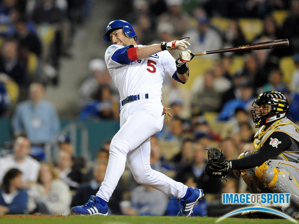 Apr 16, 2008; Los Angeles, CA, USA; Los Angeles Dodgers third baseman Nomar Garciaparra (5) bats during 8-1 victory over the Pittsburgh Pirates at Dodger Stadium.