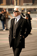 Karl Lagerfeld on Fulton Landing, Brooklyn, NY on March 24, 2008