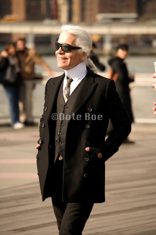 Karl Lagerfeld on Fulton Landing, Brooklyn, NY on March 24, 2008