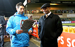 Lincoln City manager Danny Cowley holds a tin foil version of the FA Cup while he chats with BBC Pundit Trevor Sinclair - Mandatory by-line: Robbie Stephenson/JMP - 17/01/2017 - FOOTBALL - Sincil Bank Stadium - Lincoln, England - Lincoln City v Ipswich Town - Emirates FA Cup third round replay