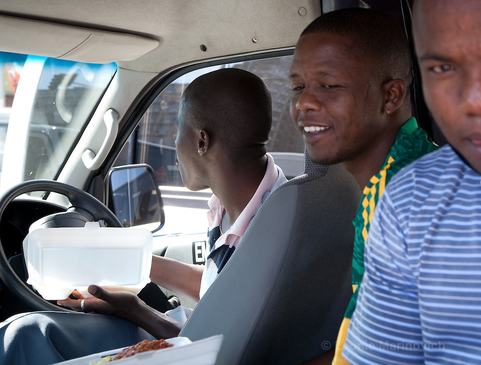 8 September 2009, The Bus Rapid Transport (BRT) System in Johannesburg commenced operation under threat of violence from the Taxi Associations in and around Johannesburg. These taxi drivers, Sipho Dlamini (in the front seat) and Richard Mbata (Green and yellow striped shirt) expressed their concerns that the BRT will impact negatively on their earnings.